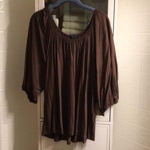 Talbots brown flowy blouse